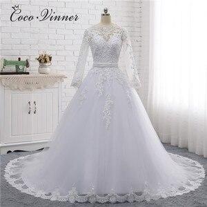 Image 1 - Boot ausschnitt Perlen Schärpen Vintage Hochzeit Kleid 2020 Stickerei Appliques Perlen Kristall Perlen Ballkleid Hochzeit Kleider W0007