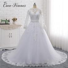 Vestido de novia Vintage, cuello bote con cuentas, apliques bordados, perlas de cristal, W0007, 2020