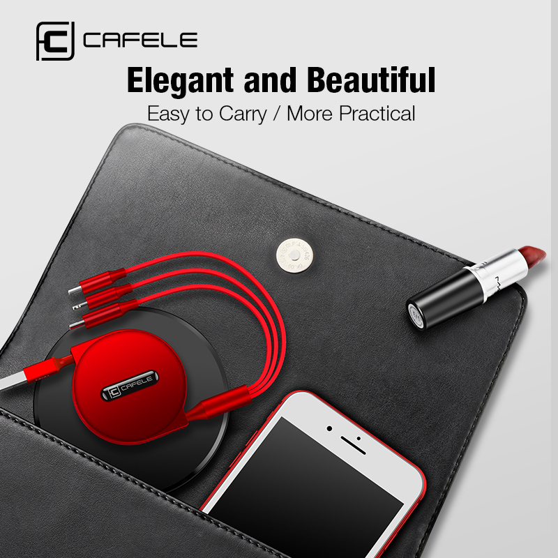 Cafele 3 in 1 Retractable USB Cable for iPhone Micro USB Type C Flat Cable Fast Charging for iPhone Cable Micro USB Type C in Mobile Phone Cables from Cellphones Telecommunications