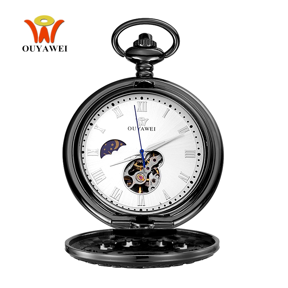 Fashion Luxury OYW Mechanical Hand Wind Pocket Watch Men Retro Vintage Pendant Skeleton Watch Full Steel Chain Pocket Fob Watch gorben new luxury retro roman dual display full golden dots pocket watch waist chain pendant for men and women gifts with box