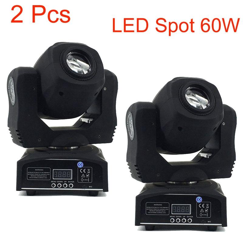 2 Pcs 60w Led Spot Light 7 Gobos Moving Head Light DMX 9/11 Channels Light/Master-Slave/Auto Run/Sound Controller Fast Shipping стоимость