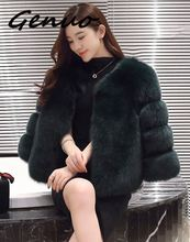 Faux Fur Coat Autumn Winter Women 2019 Fashion Casual Warm Slim Short Fox Pocket Jacket Plus size