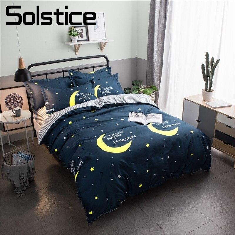 Solstice Home Textile Boy Kid Bedding Suits Deep Blue Crescent Moon Duvet Cover Flat Sheet Pillowcase Child Girl Bed Linen Queen