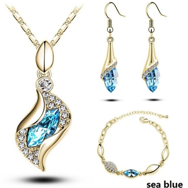 Conjunto de joyería africana para mujer, cuentas de Color dorado y plateado, accesorios para boda, collar de cristal colgante, pendientes, conjunto de anillo 6