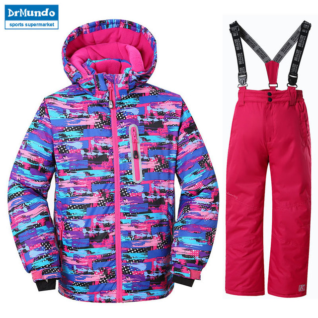 ea8e12ee6019 Girls Ski Jacket Children Waterproof Windproof Clothing Kids Ski Set ...