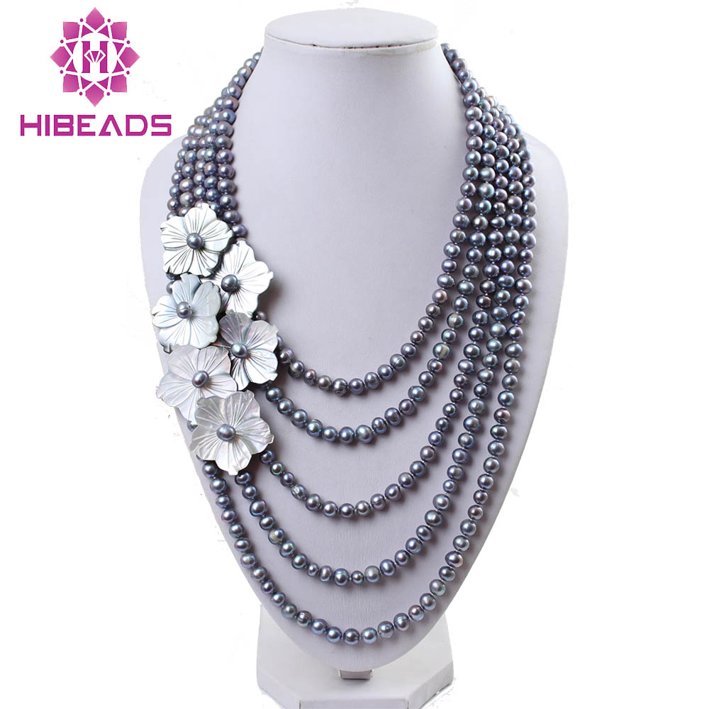 Marvelous 5 Rows Freshwater Pearl Necklace Pretty Shell Flower Cluster Design Bridal Wedding Pearl Jewelry Hot BN295 excellent design 6 rows flower freshwater pearl necklace pearl jewelry set white shell necklace crystal necklace christmas gifts
