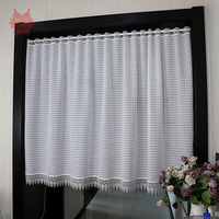 Japanese and Korean style white color tube curtain with lace pendant for window kitchen tulle curtains zaslony do okien SP5766