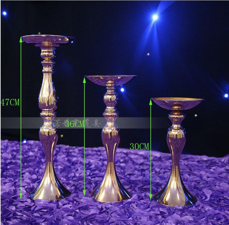 10ks / lot Svatební sváteční stůl svícen T silniční přívod Zlatá á / silnice citováno H47cm