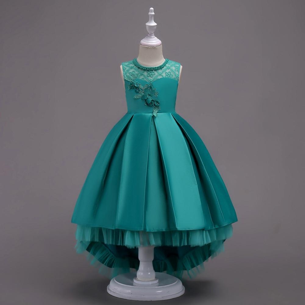 High Quality Girls Sleeveless Princess Children flower girl dress For Wedding 3-16 Years Girls Trailing Party Prom Dresses 2018