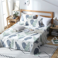 2019 New Spring Leaves Bedding Set 100% Cotton Flat Sheet twin full queen king Bed Sheet Bed Linens white pillowcase bedclothes