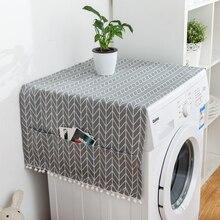 Геометрический холодильник ткань одной двери Пылезащитный Чехол для холодильника пасторальный двойной открытый полотенце стиральная машина крышка полотенце 1 шт