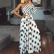 Платье женское повседневное длинное с принтом в горошек на одно