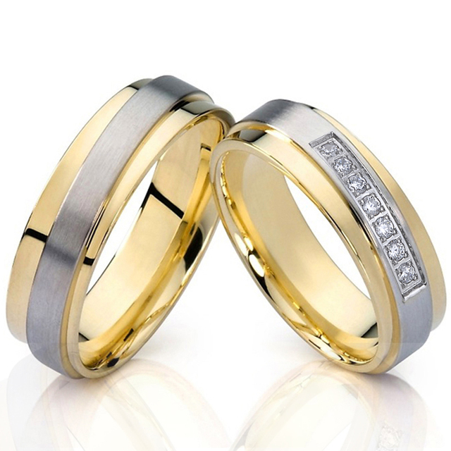 Nice Mens Alliances Wedding Band Couple Ring Gold Silver Color Engagement Anniversary Promise couple rings for women
