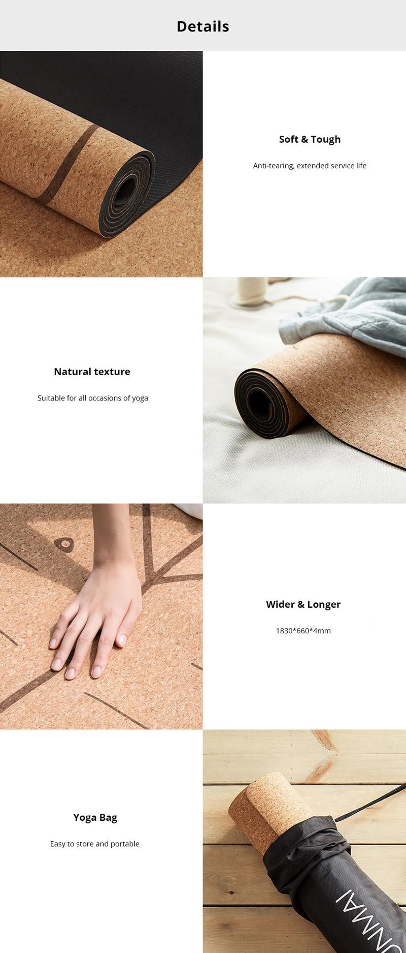 XIAOMI YUNMAI 4mm Natural Rubber Soft Cork Yoga Mat 4