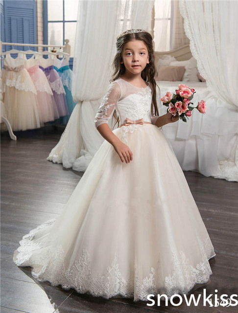 Royal Ivory white flower girl dress for beach wedding with lace appliques  open back beautiful first communion dresses with train 60210cbb4ad3