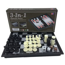 Folding Magnetic Board Game Plastic Chess & Checkers & Backgammon 3 in 1 Chess Sets With Chessboard And Chess Pieces Size S(China)