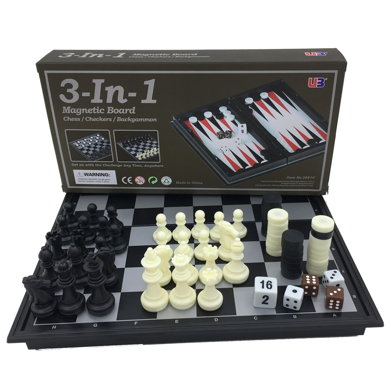 Folding Magnetic Board Game Plastic Chess & Checkers & Backgammon 3 in 1 Chess Sets With Chessboard And Chess Pieces Size S