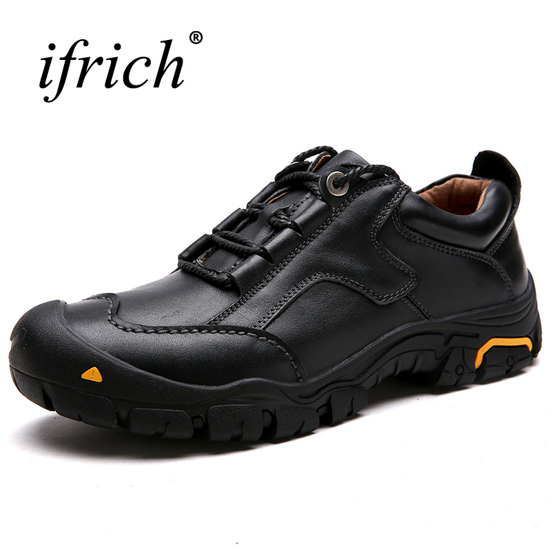 2017 Good Quality Genuine Leather Outdoor Trekking Shoes Man Autumn Winter Mountain Climbing Sneakers Black Brown Hiking Shoes yin qi shi man winter outdoor shoes hiking camping trip high top hiking boots cow leather durable female plush warm outdoor boot