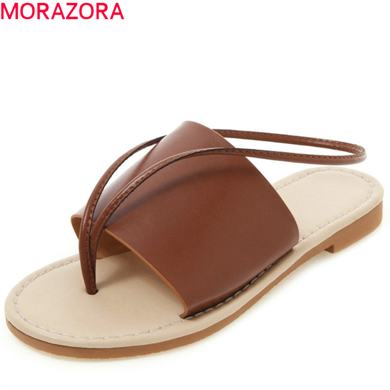 MORAZORA 2019 New Summer Shoes Women Sandals Solid Colors Flat Shoes Ladies Fashion Unique Casual Beach Shoes Woman Big Size 50