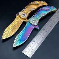 Newest Dragon 1 Folding Knife 9Cr18 Steel Blade All Steel Handle Camping Hunting Survival Knives Pocket