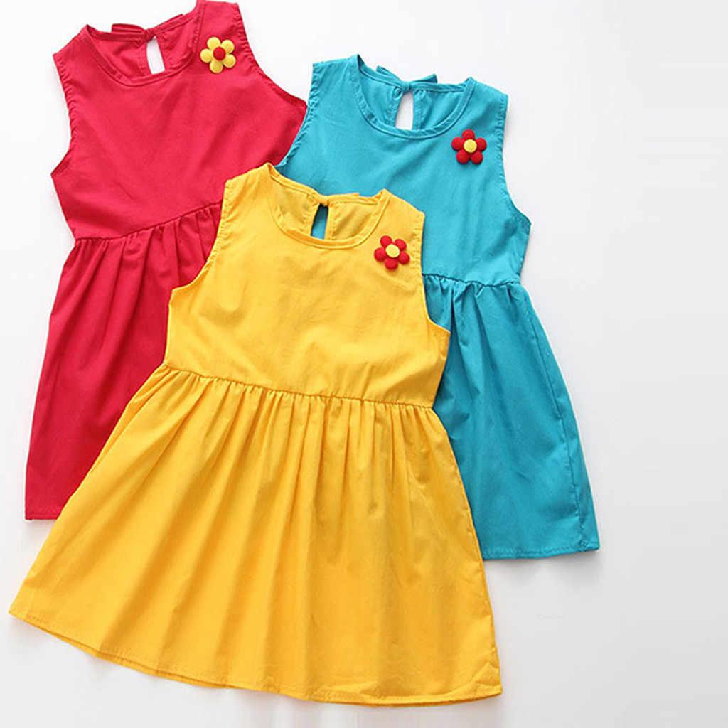 2019 г. Детские платья детское хлопковое и льняное платье без рукавов с цветочным принтом для девочек весенне-летние платья для девочек