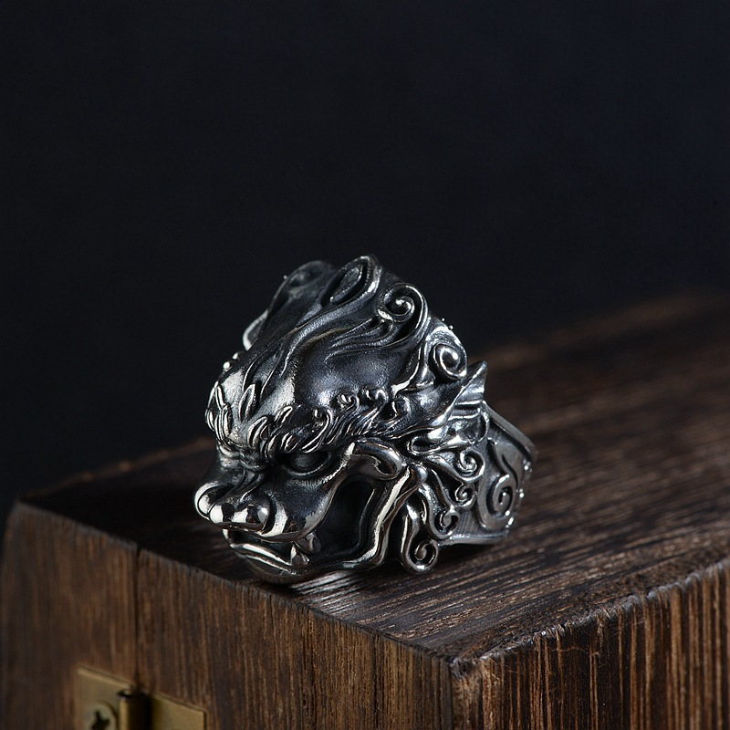 FNJ 925 Silver Pixiu Ring New Fashion Animal S925 Sterling Thai Silver Rings for Men Jewelry