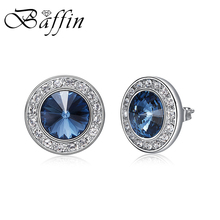 Baffin Round Stud Earrings Real Crystals from Swarovski For Women Lover Trendy Silver Color Piercing Jewelry Valentine Day Gift