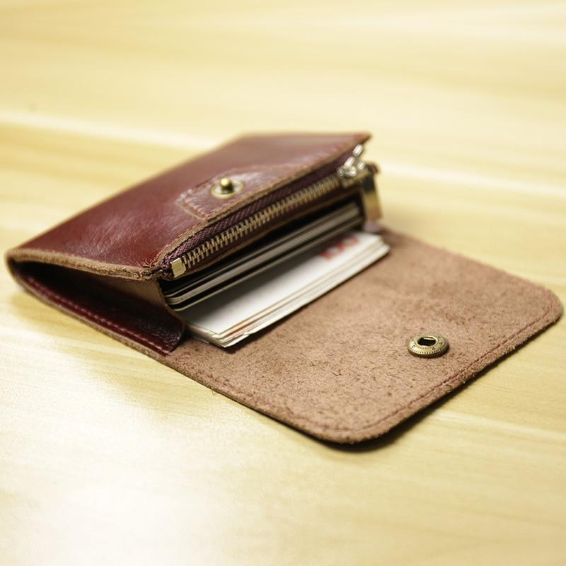23760859f15a ALAVCHNV handmade cowhide mini coin purse men and women leather retro card  bag zipper small wallet