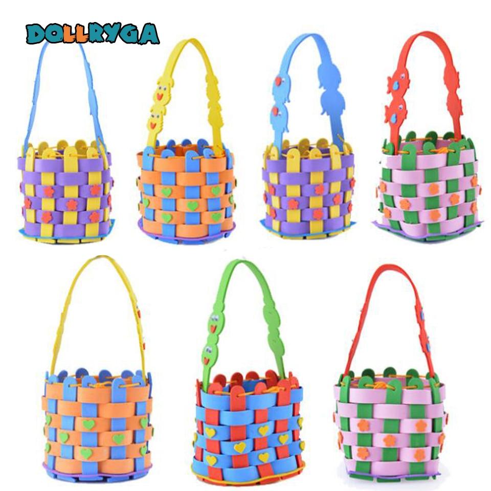 DOLLRYGA 1PC DIY Handmade Knitted Multicolor Woven Basket EVA Foam Craft Kits Kindergarten Kids Educational Toys For Children