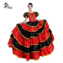 90ee50c46f55 Adults Flamenco Dance Costumes Red Women Spanish Dress 360 Degrees Flamenco  Skirt For Women Stage &