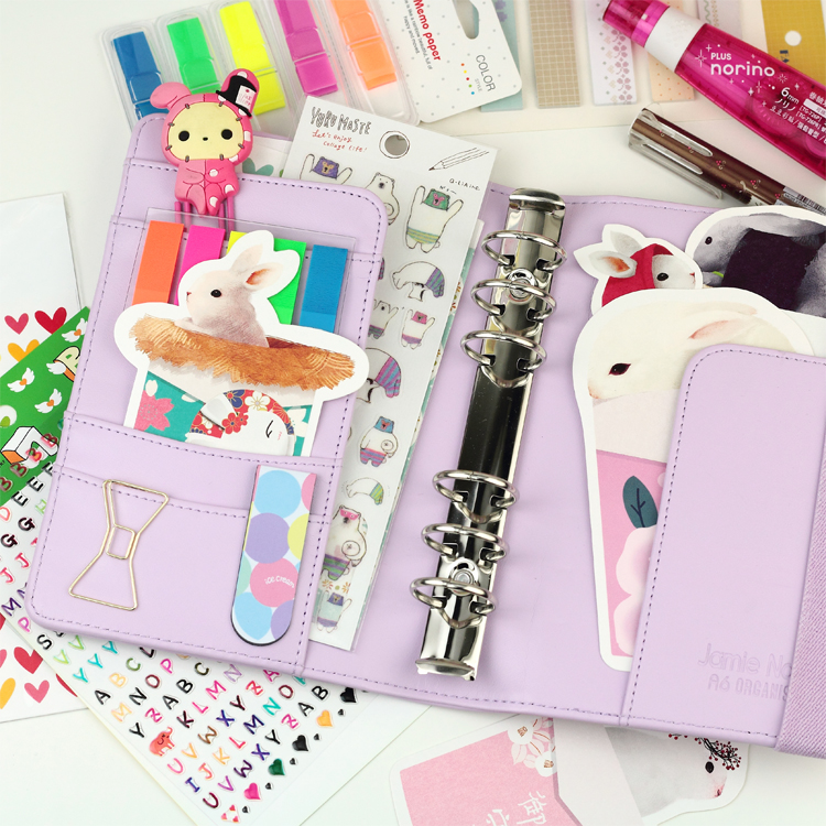 Image 4 - New Arrive Star JM Polka Dot 6 loose leaf Notebook A5 A6 Organizer Planner With Elastic Bind Match  Dokibook Filler-in Notebooks from Office & School Supplies