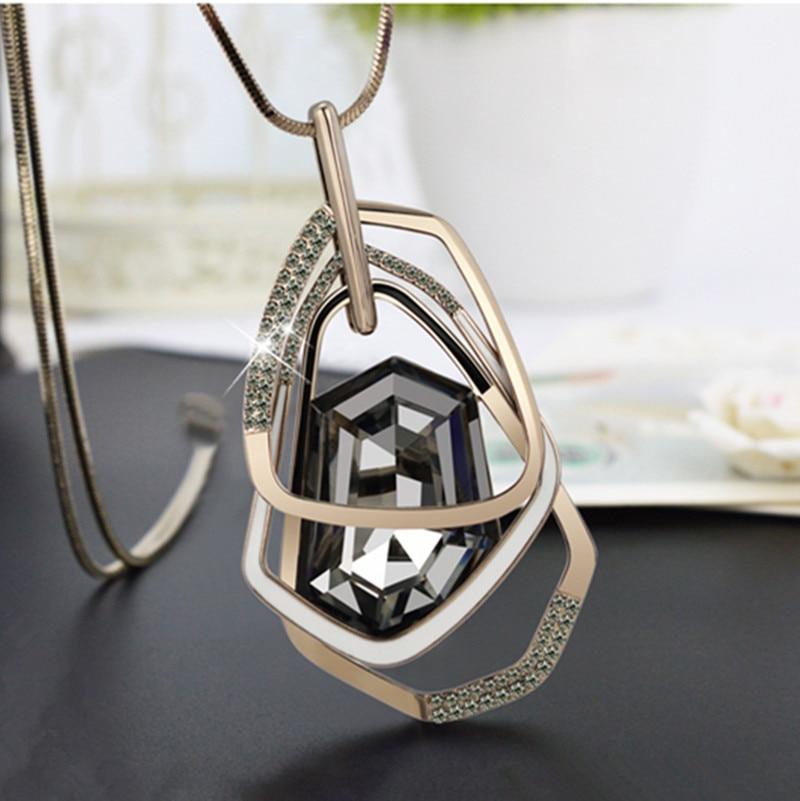 2016 новое поступление Для женщин Подвески отрезок кристалл длинное Цепочки и ожерелья