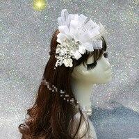 Moda Lüks Beyaz Tüy Kafa Yeni Headdress Çiçek Matkap Beyaz Dantel Firkete