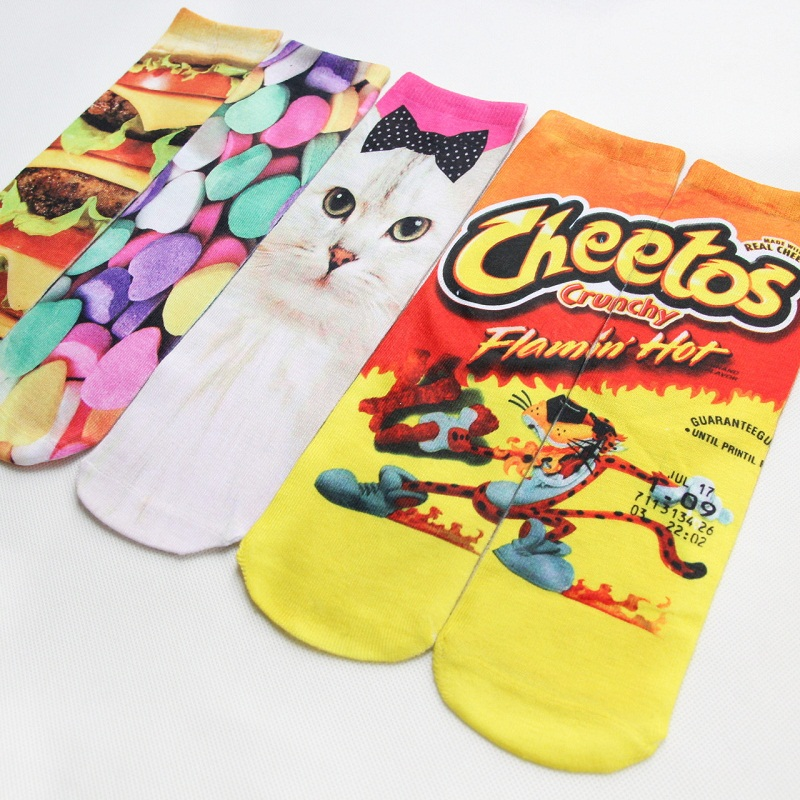 2018   3d-sided Printing Long Section  Fashion Personality Socks Animal Cartoon Couple