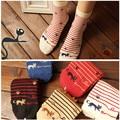 Animales de Dibujos Animados de Rayas Gato Lindo Kawaii Sokken Calcetín Calcetines de Arte Divertido de La Novedad Para Las Mujeres Short Tobillo Meias Sox