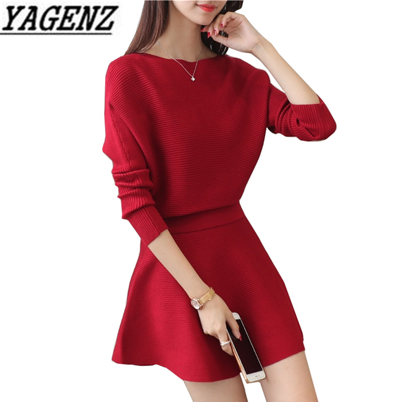 2 piece set Women Sweater Suit Clothing Set 2018 Autumn Loose Batwing Sleeve Tops+Skirt two Piece Ladies Fashion Sweater Sets