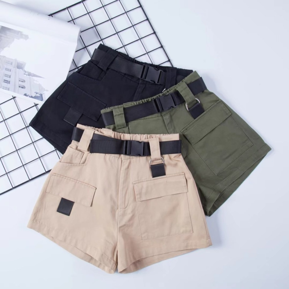 Cargo   Shorts   WIth Black Waist Sashes Ladies Summer   Short   Casual Cotton   Shorts   Women High Waisted Straight   Shorts   Solid Zipper