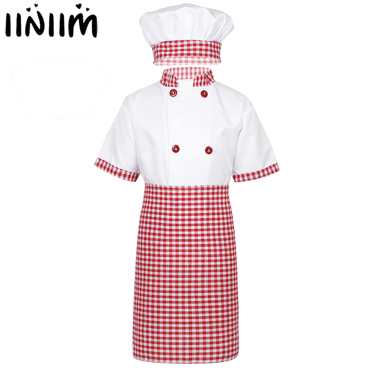 iiniim Unisex Kids Boys Girls Chef Uniform Role Play Jacket with Apron and Hat Set for Halloween Cosplay Party Costume