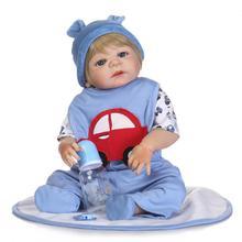 55 cm boy Doll Reborn Full Silicone Babies blue Eyes doll Realistic alive Toddler Babies Dolls Xmas Birthday Gift Bathe Toy все цены