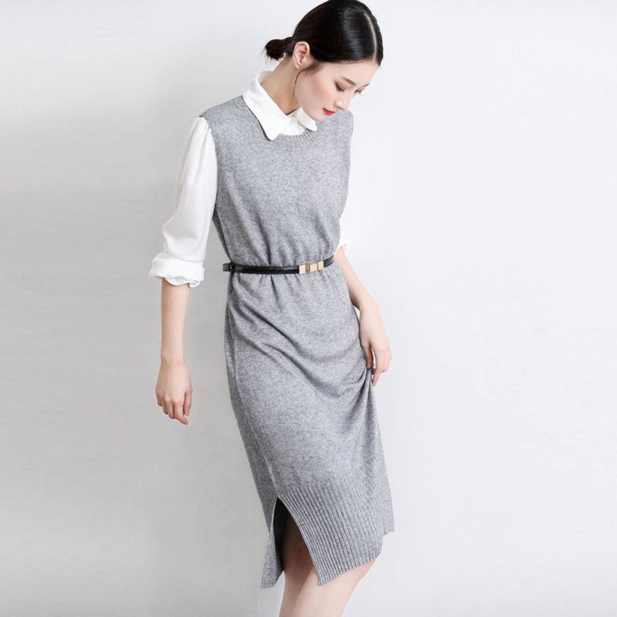 korean fashion new ladies knitted wool sweater with spring collar round off long split fork (sweater vest skirt