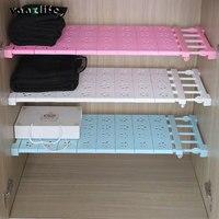 Vanzlife Free Nail Stretching Wardrobe Layered Separated Compartment Shelves Bathroom Finishing Shelf Storage Rack Dormitory