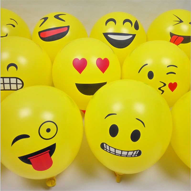 Hot 20pcs12 Inch Latex Expression Balloons Round Smiley Face Balloon Yellow Cartoon Balloon Party Wedding Decoration-B