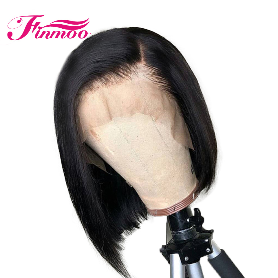 Wig Lace-Frontal Hairline-Wigs Human-Hair Peruvian 360 Bob with Bleach Knots Pre-Plucked