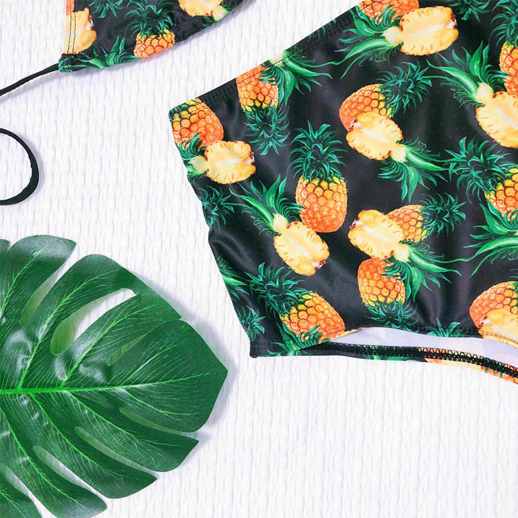 Bikini 2019 Mujer kostium kąpielowy kobiety bikini z usztywnionym biustonoszem kwiatowy Print lato strój kąpielowy wysokiej talii stroje kąpielowe Maillot De Bain Femme