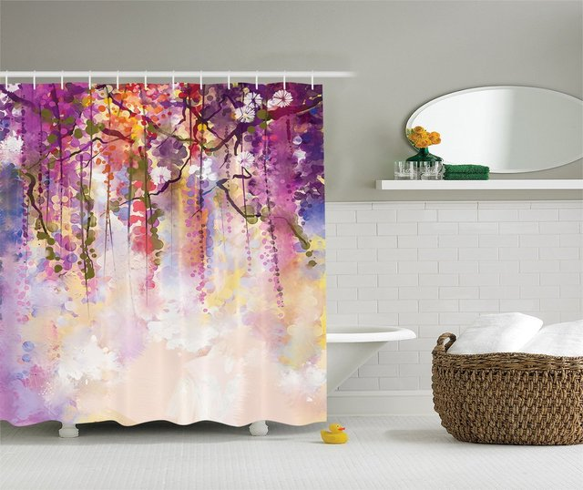 Memory Home Watercolor Flowers Painting Polyester Fabric Bathroom Shower  Curtain Set With Hooks Navy Purple Peach