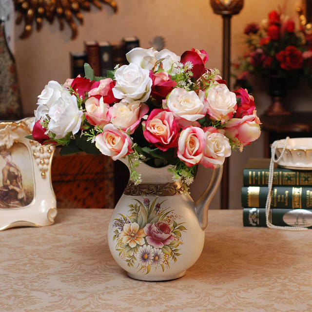 Rustic Hand Painting Ceramic Vase Fashion Flower American Vintage Pot Bottle Dining Table Decoration