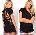 Mujeres nave libre/señora cartoon Laser Filigrana alas de ángel negro de las mujeres de manga corta 100% algodón t-shirt camisa