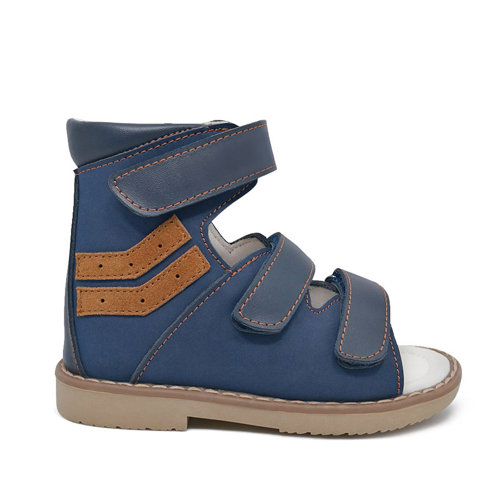 Summer genuine leather orthopedic kids shoes boys sandals shoes baby high ankle flat foot shoes