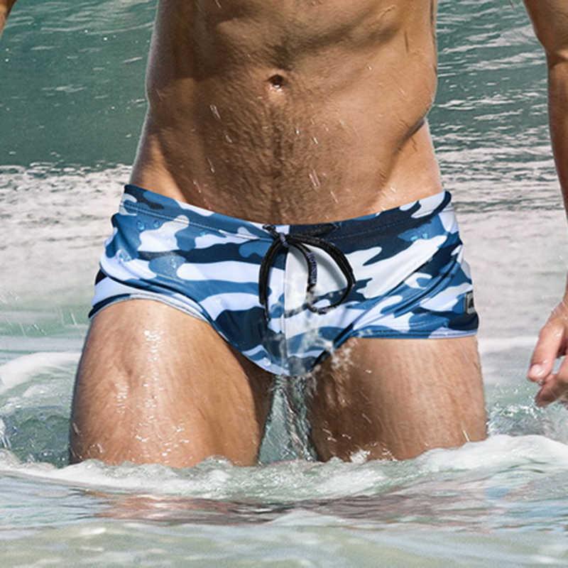 De Talla Grande De Camuflaje Traje De Los Hombres De Secado Rapido Nadar Banadores Suspensorio Para Gais Bikini Trajes De Bano De Baja Altura Deporte Surf Pantalones Cortos Aliexpress