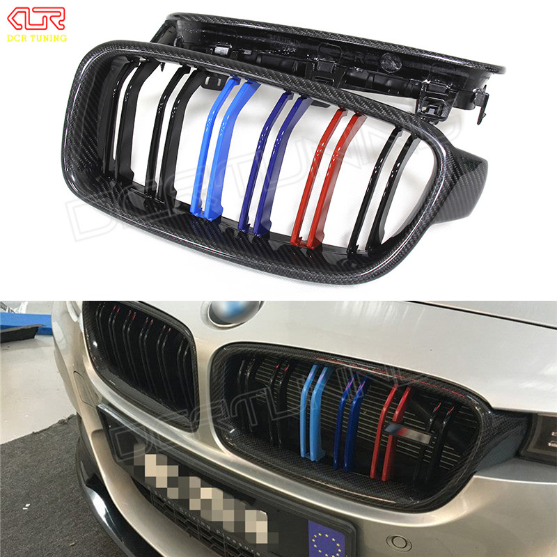Dual Slats For BMW 3 Series 320i 325i 328i 335i Carbon Fiber Front Grille M Look F30 2013 2014 2015 - on for bmw 3 series e36 318 328 323 325 front coilover strut camber plate top mount green drift front domlager top upper mount